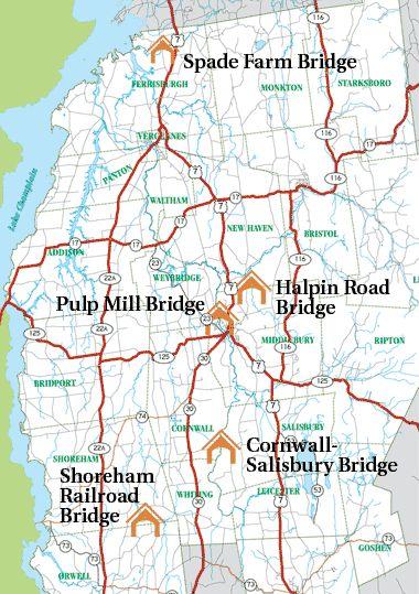 Covered Bridges Map  Middlebury  Pinterest