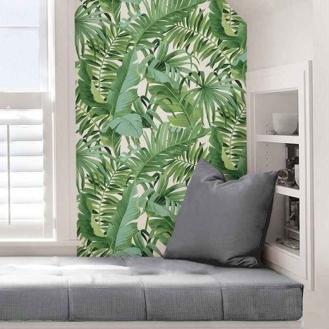 Nuwallpaper 30 75 Sq Ft Green Vinyl Ivy Vines Self Adhesive Peel And Stick Wallpaper Lowes Com Palm Print Wallpaper Removable Wallpaper Peel And Stick Wallpaper