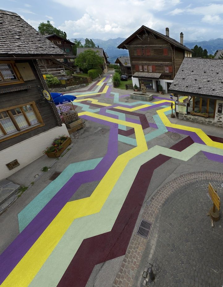 "Artist: Lang/Baumann Title: Street Painting #5 Technique: road marking paint Dimensions: 100 x 60 m Exhibition: 2010, ""Street Painting #5″ R-Art, Vercorin CH"