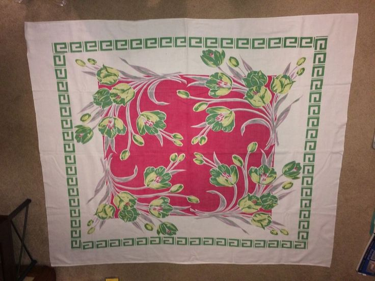 Vintage Tablecloth Red Green Chartreuse Tulips Greek Key Border Cotton 40s  50s