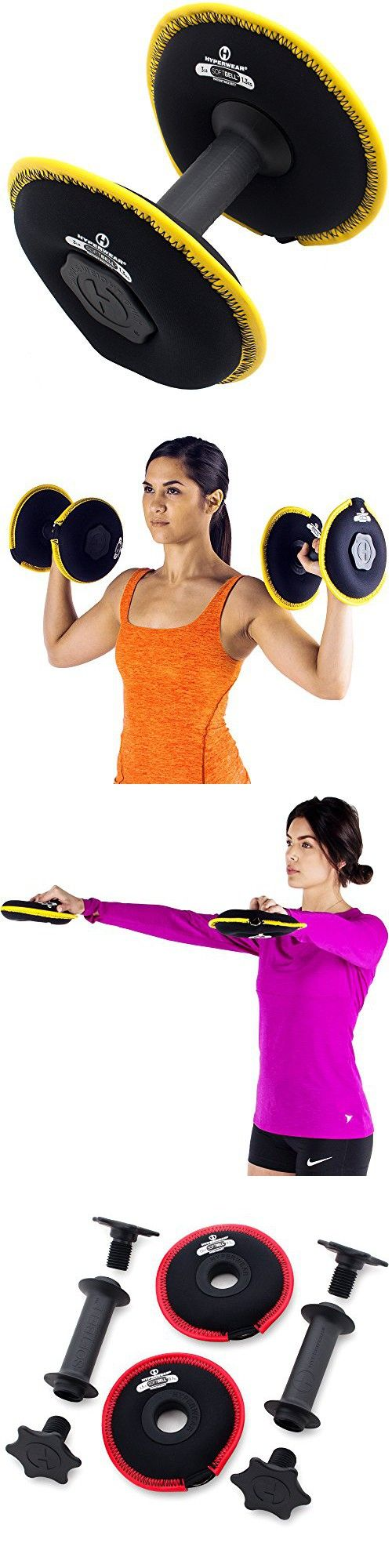 Hyperwear SoftBell 6 lb Single 3-in-1 Deluxe Adjustable Dumbbell One Easy Grip Handle and Two 3 lb Yellow Sand Disc Free Weight Plates
