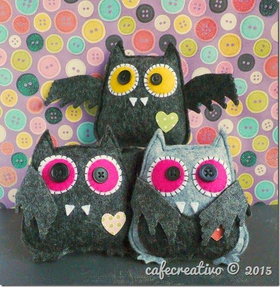 Halloween Owl - Bat; Sizzix Big Shot, fustella gufo, feltro, pipistrello