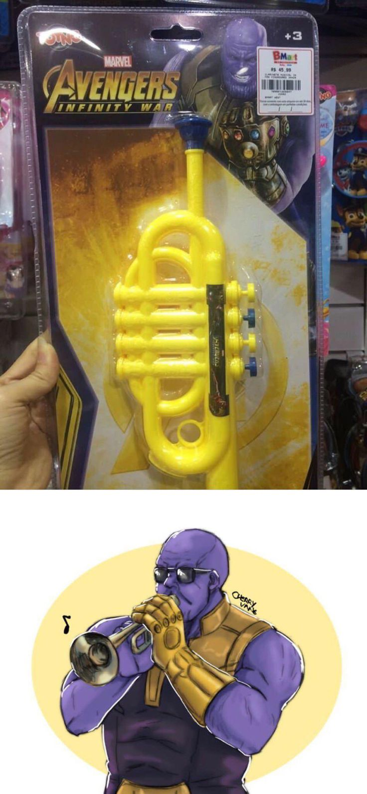 I'm not sure why Thanos needs this trumpet... in 2020