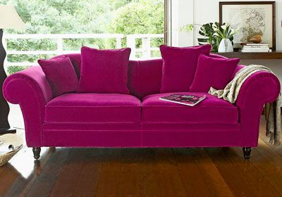 Canap 3 places velours rose fuchsia camif canape pinterest lieux roses et salons - Camif sofa converteerbare ...