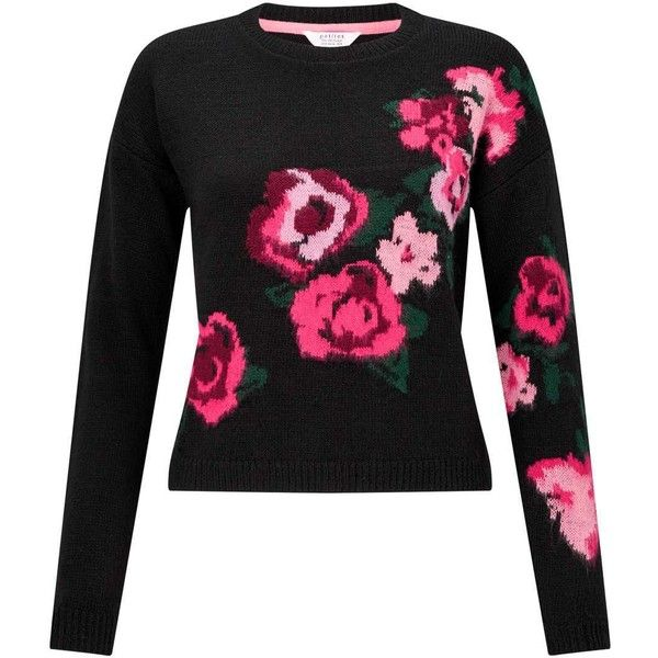 Miss Selfridge PETITE Floral Knitted Jumper ($20) ❤ liked on Polyvore featuring tops, sweaters, black, petite, petite jumpers, floral jumper, long sleeve jumper, long sleeve sweater and flower print sweater