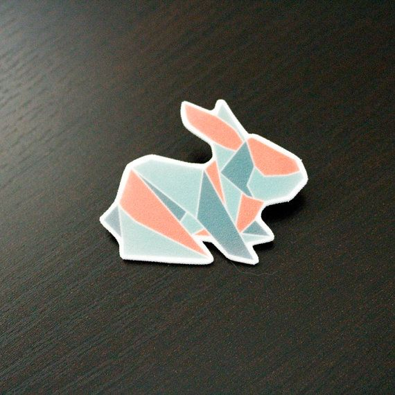 Nordic Origami Bunny Brooch by PaperAlphabet on Etsy, $10.00
