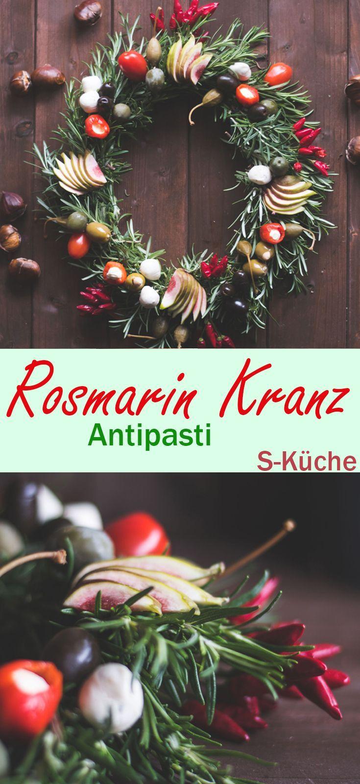 Anleitung für einen festlichen Kranz aus Rosmarin mit Antipasti als Tischschmuck und zum Naschen für Feste und Feiern, Weihnachten und Silvester, Sommerparties und Büffets