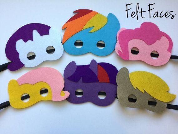 Set of 6 My Little Pony Party Masks My Little Pony by KSFeltFaces