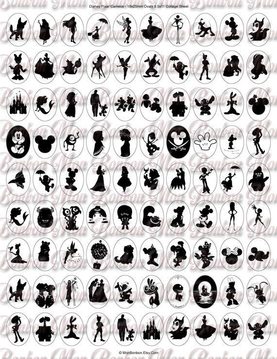 Disney Pixar Kameen und Silhouetten Schmuck Supply  18x25mm