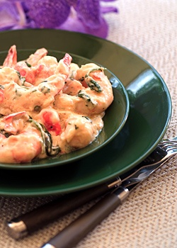 Shrimp in Cilantro Cream Sauce