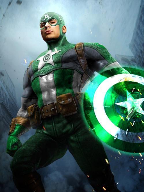 Green Lantern Steve Rogers of Earth. Original Captain America art by Christopher M.