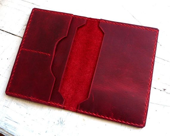 Red leather passport wallet Passport case Travel by inkitbooks
