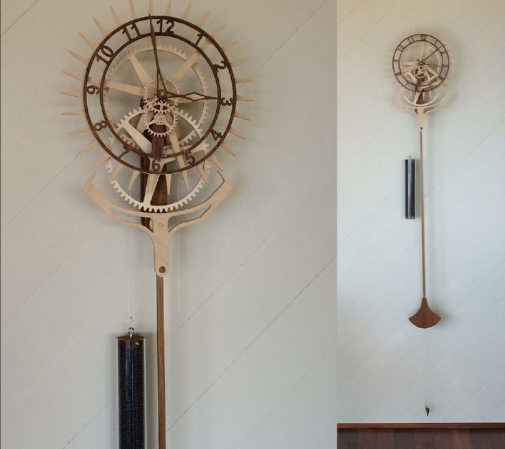 "Wooden clock ""Korona"" from David Smith. Designed by Christopher Blasius. Plans available at holzmechanik.de"