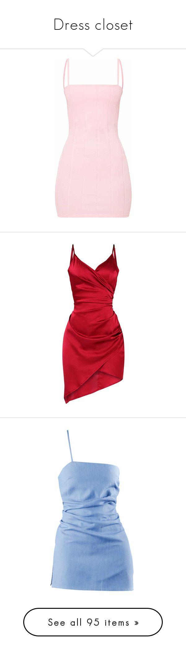 """Dress closet"" by nazarahwiggins on Polyvore featuring dresses, vestidos, bandage dresses, body con dress, straight dresses, bodycon dress, bandage bodycon dress, short dresses, satin wrap dress and red satin dress"