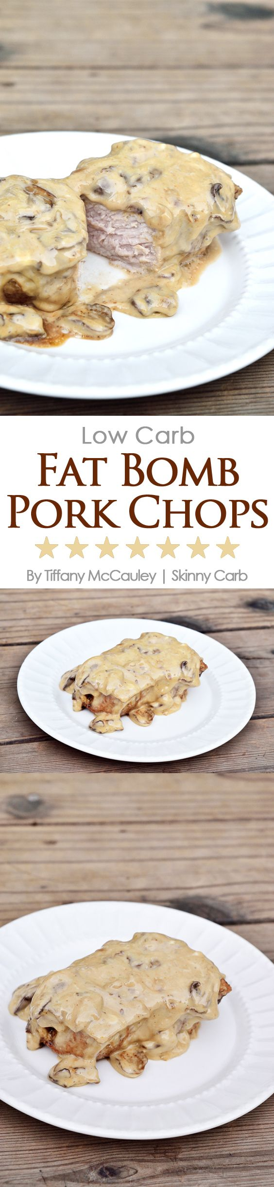 Low Carb Fat Bomb Pork Chops Recipe - Perfect for a Keto diet or just for generally getting plenty of fats in your low carb eating plan. ~ http://www.skinnycarb.com