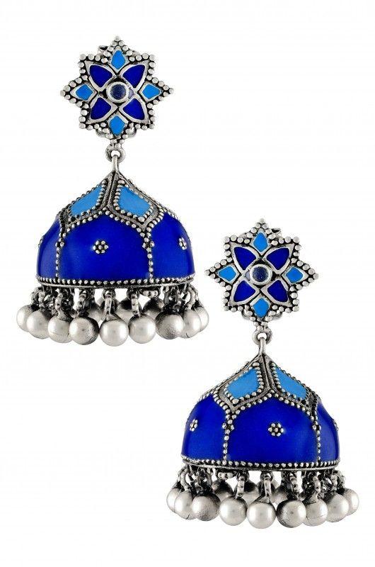 Silver Floral Rawa Blue Enamel Dome Jhumka