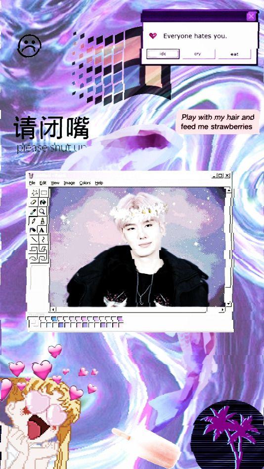 Kihyun Monsta x aesthetic lockscreen kpop  vaporwave