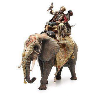 Elefante con Re e servo Presepe Angela Tripi 30 cm | vendita online su HOLYART