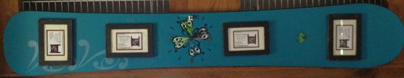 Snowboard Picture frame with CLOCK made out of a by frameitinskis
