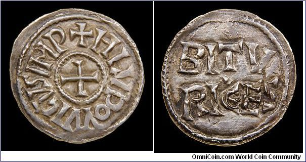 Louis the Pious Denier  King of Aquitaine 781-813  Co-Emperor 813-814  Emperor 814-840  Class 2 Mint Name Denier, 819-822  Bourges  MEC 766, Depreyot