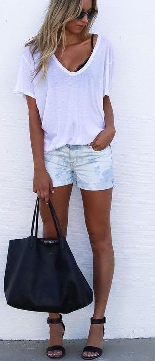 White Tee + Tie Dye Denim Short Source