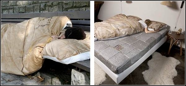 Почувствуй себя бездомным! Креативное постельное белье Homeless Bedding  Сомнительное удовольствие - ночевать на улице, на асфальте или бетонных плитах, укрываясь найденными невесть где тряпками или кусками картона. Но некоторым выбирать не приходится... А для тех, у кого есть выбор, - черное шелковое, атласное белое, или же ситцевое с веселыми принтами, дизайнеры предлагают экстремальный вариант постельного белья под названием Homeless Bedding. Почувствуй себя бездомным, ночуя в мягкой и…