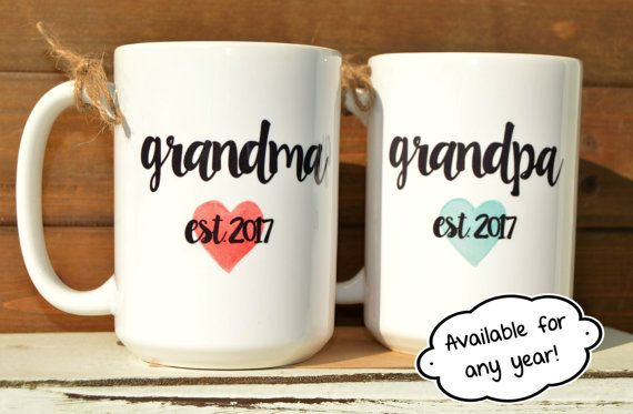 New GRANDMA or GRANDPA Mugs Established year and by BabyCakeLane