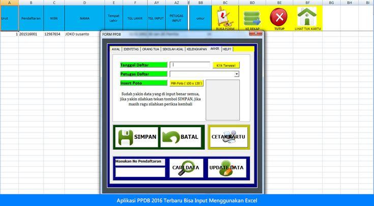 [File Pendidikan] Aplikasi PPDB 2016 Terbaru Menggunakan Excel Bisa Input Photo