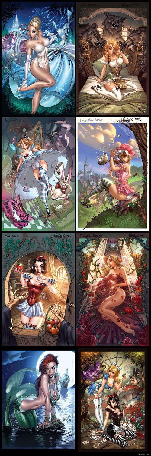 Fairytale Heroine Pin-Ups } Disney Princesses } Snow White } Belle } Ariel } Aurora } Alice in wonderland } Sleeping beauty } Goldilocks