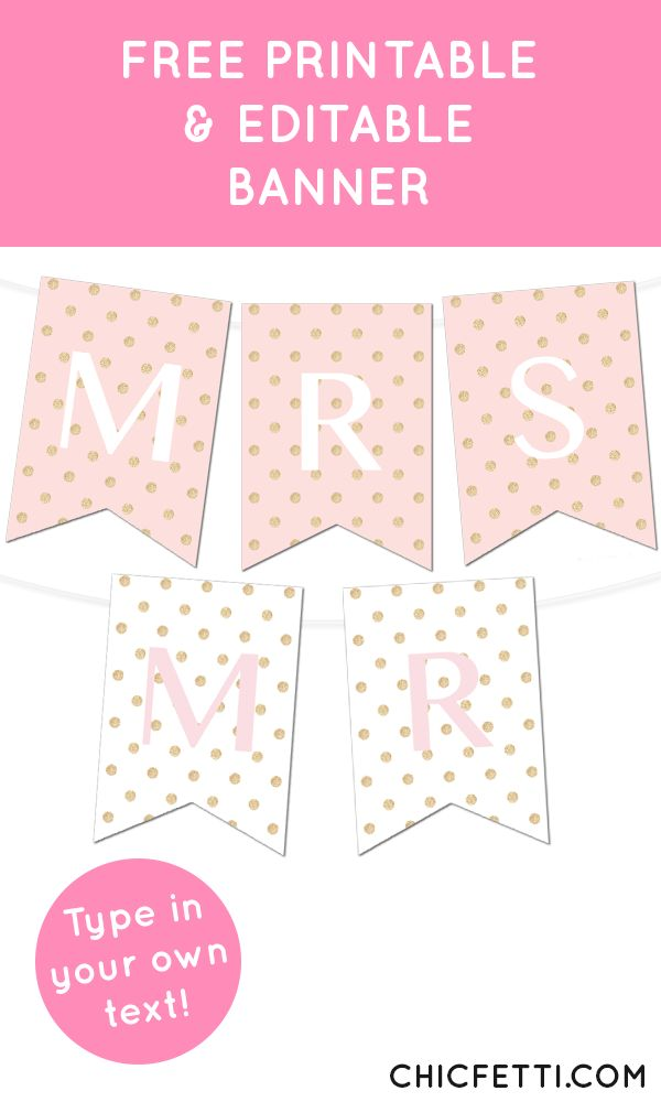 Free Printable Glitter Polka Dot Banner from @chicfetti - perfect for weddings or parties!