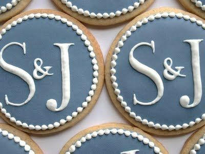 wedding shower, engagement party, wedding rehearsal or wedding reception. bride and groom's initial cookies!