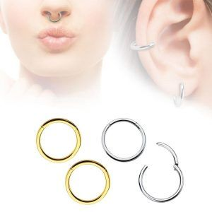 4 Pack Seamless Hinged Segment Ring Silver & Gold IP Coated 316L Stainless