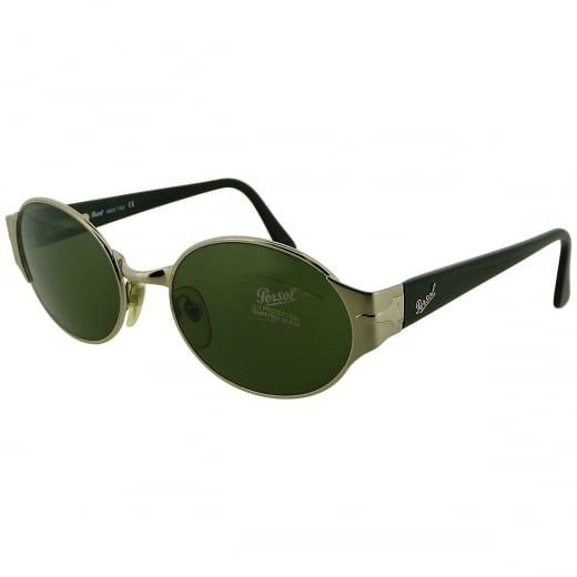 Persol Ex-Display Silver Oval Metal Sunglasses With Green Crystal Lenses. Model Number: 2002-S CO 31. Defined by their refined sophistication and vintage inspired design, these Persol sunglasses come with polished silver tone metal frame and sleek black acetate spring back arms.