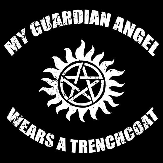 A funny Supernatural tv show t-shirt that says 'my guardian angel wears a trench coat, referring to Castiel. Also has the anti-possession symbol.