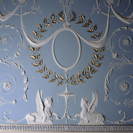 A detail of the elaborate ceiling in the Drawing Room, Attingham Park. George Steuart planned to fill the oval medallions with decoration, but his Adam-style ceiling was never finished.
