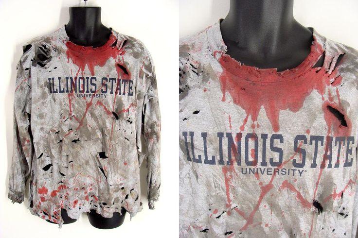 Zombie Shirt. Slasher Costume. Custom Made. Bloody ILLINOIS STATE UNIVERSITY. Vampire Zombie Slasher Victim. T-Shirt Halloween Costume. xl by wardrobetheglobe on Etsy