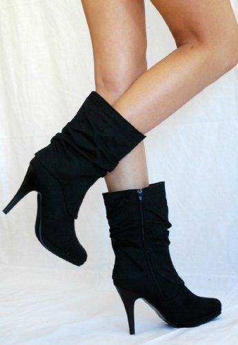 Ankle Mid Calf New Women Fux Suede High Stiletto Heels Sexy Boots Booties  Shoes