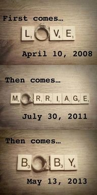 Lovin it without the baby idea... Could  be a super cute save the date idea with our picture under or inbetween!