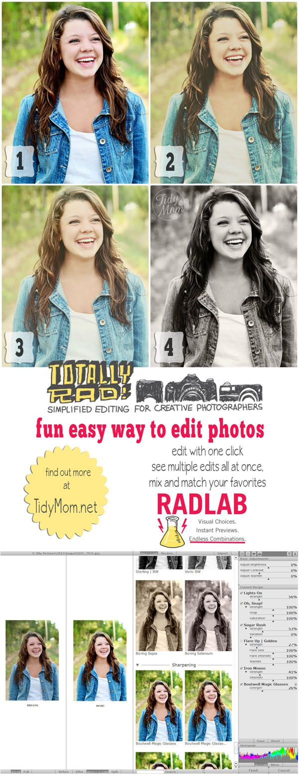 How to easily edit photos with Rad Lab at TidyMom.net - gotta try this one.  sounds awesome!