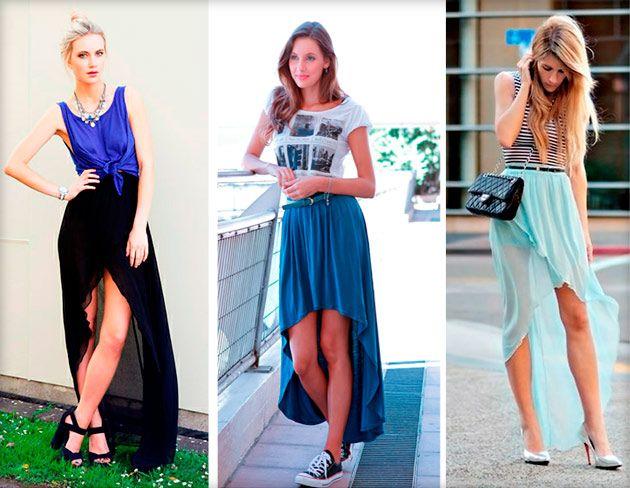 Асимметричная юбка спереди короткая и длинная сзади: фото, с чем носить