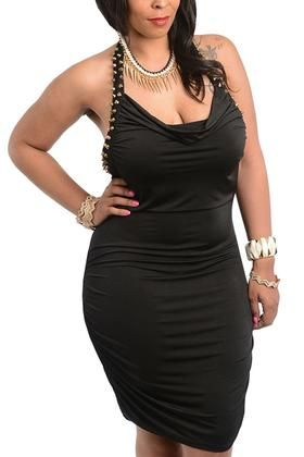 DHSTYLES: DHStyles Women's Black Plus Size Rocker Studded Party Halter Dress…