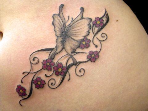 #tattoo #flower #butterfly