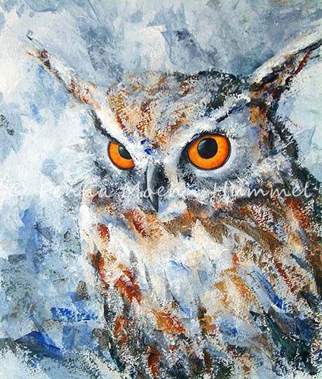 schilderij uil palet mes Atelier for Hope Doetinchem Schilderijen dieren en bloemen Fenna Moehn Hummel