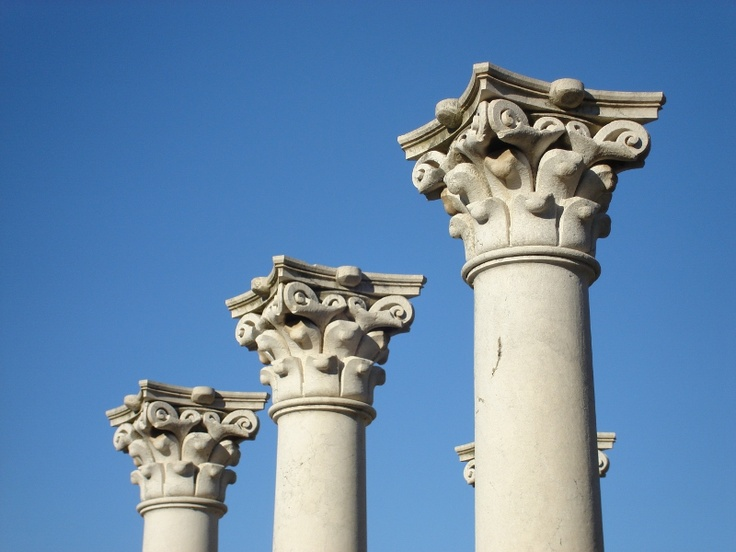 White marble and blue sky - columns in the Asklepion, dedicated to Aesculapius, son of Apollo, on the island of Kos in Greece in the summer of 2011.