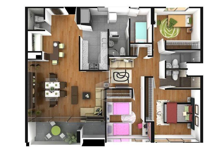 Baño De Visita Con Ducha:departamento de 3 dormitorios, 2 baños completos, baño de visita