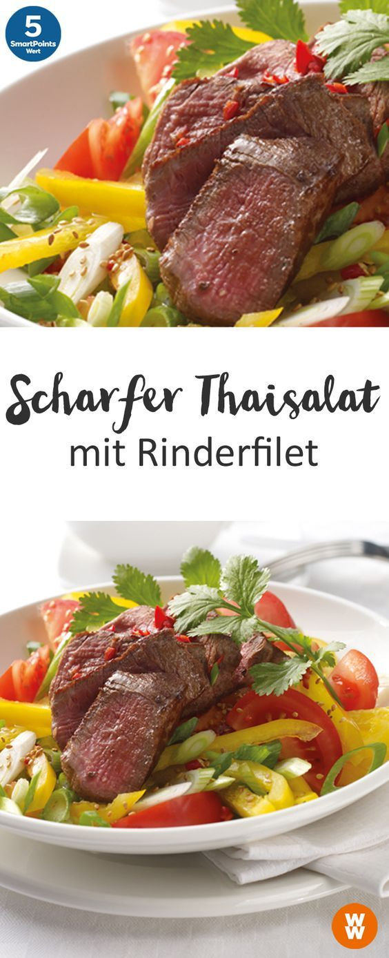 Scharfer Thaisalat mit Rinderfilet | 2 Portionen, 5 SmartPoints/Portion, Weight Watchers, fertig in 30 min.