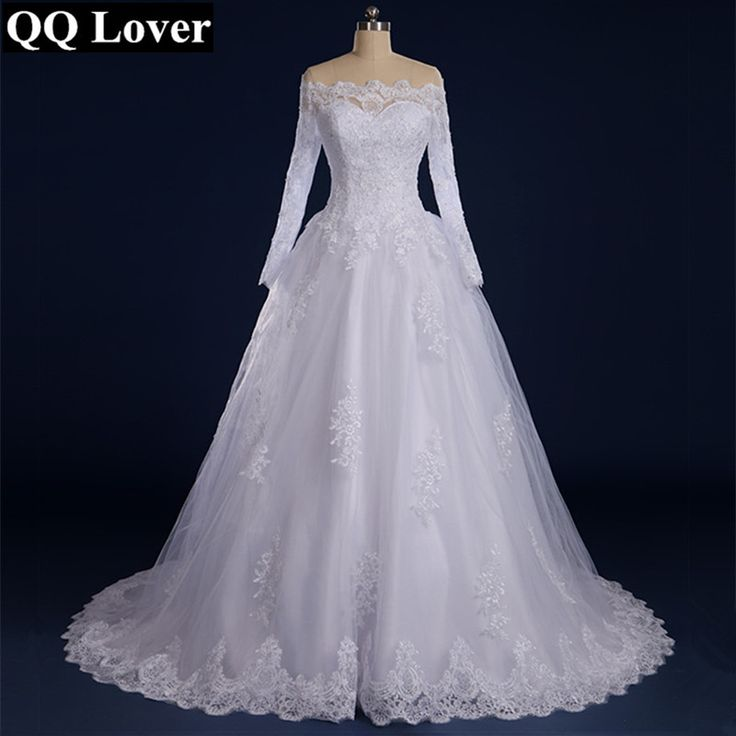 QQ Lover 2017 Off the Shoulder Long Sleeves Wedding Dress 2017 Custom-Made Lace Vestido De Noiva With Real Pictures