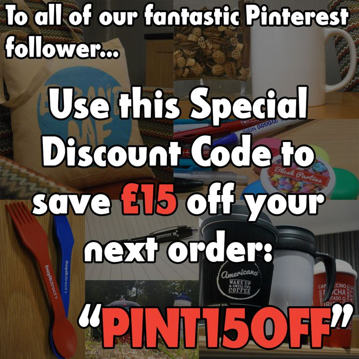 "As a special gift to all of our Pinterest Followers, use our discount code ""PINT15OFF"" to save £15! http://www.promoparrot.com/ #promo #discountcode #followers #discount"