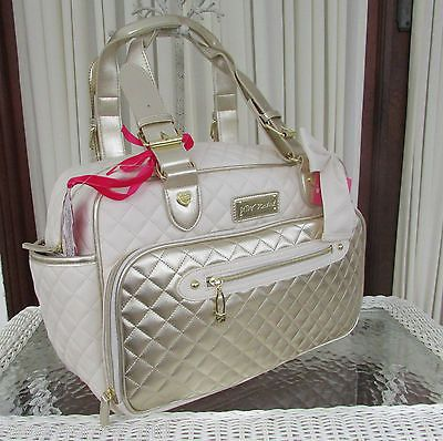 Betsey Johnson Downtown Diaper Bag Diamond Quilted Gold Weekender Tote NWT