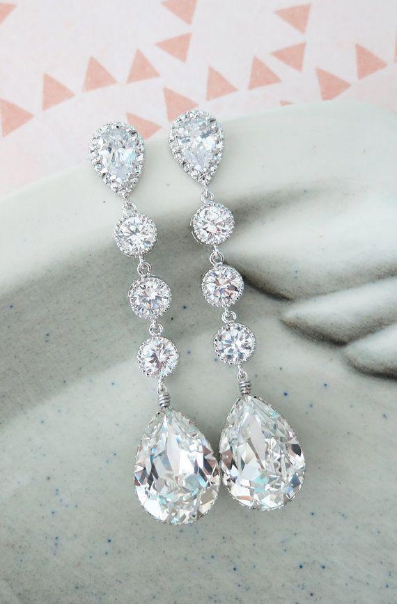 Silver Swarovski Crystal Teardrop Earrings, Bridesmaid Earrings, Bridal Wedding Jewelry, Cubic Zirconia Earrings, white weddings, by GlitzAndLove on Etsy, www.glitzandlove.com